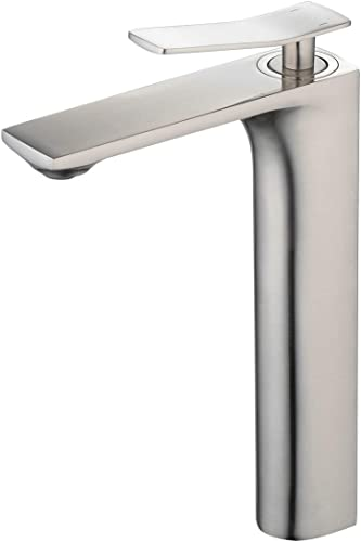 Bathroom Vessel Sink Faucet Brushed Nickel Finish Tall Tap 1 Handle Basin Mixer Tap Single Hole Deck Mount Lavatory Bathroom Counter Top Tall Taps Modern Leekayer