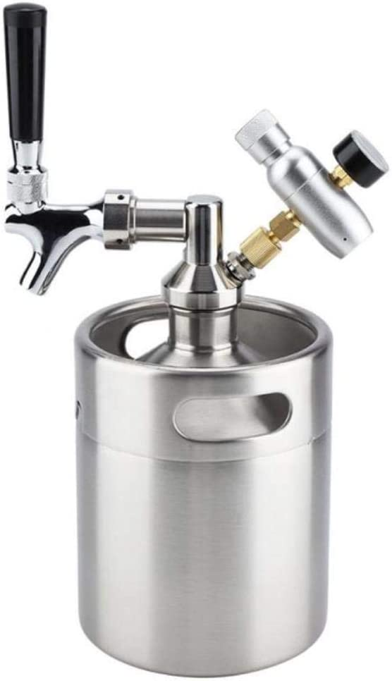 KOIYOI Mini Barril de Cerveza de Acero Inoxidable de 2L con ...