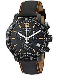 Men's T0954173605700 Quickster Chronograph Analog-Display Swiss Quartz Black Watch