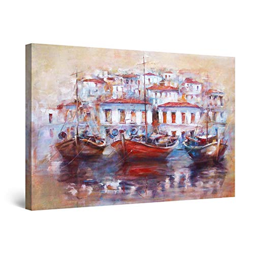STARTONIGHT Canvas Wall Art Abstract - Old Fisherman Harbor in Crete, Greece - Large Framed 32 x 48 Inches