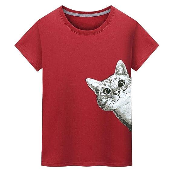 ♚Camiseta Hombres,Blusa de Manga Corta con Estampado de Gatos Absolute: Amazon.es: Ropa y accesorios
