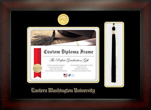 Celebration Frames Eastern Washington University 8 x 10 Mahogany Finish Infinity Diploma Frame with Tassel - University Diploma Frame Washington
