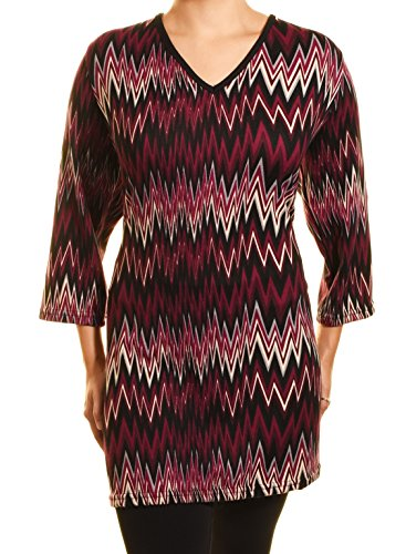 Highness NYC ZigZag Sweater Tunic (Purple, 3X)