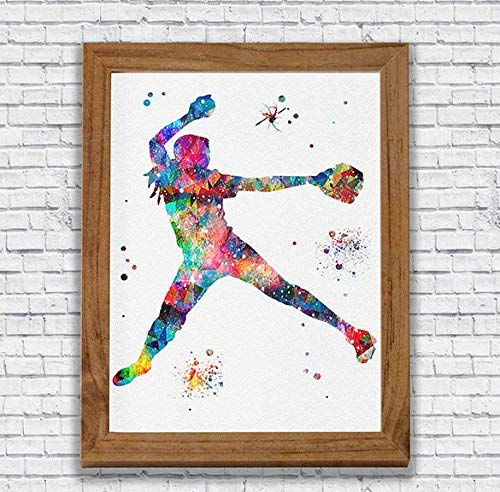 (Softball Player Watercolor Print Pitcher Wall Art Girl's Room Wall Decor Kid's Room Artworks Sports Wall Hanging House Warming Archival Fine Art Softball Player Gift)