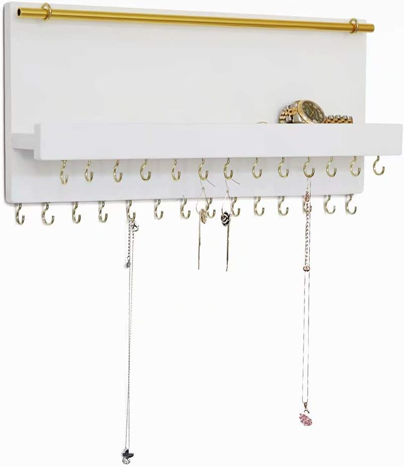 SANY DAYO HOME 27 Hooks Wall Mounted Necklace Holder 14 x 6 inch Hanging Rustic Wooden Jewelry Organizer with Removable Bracelet Rod and Shelf for Kids, Girls, Women - Ivory White