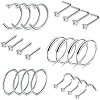 Adramata Stainless Steel 20G Nose Rings Hoop Screw L Shaped Straight Stud CZ Body Piercing Jewelry
