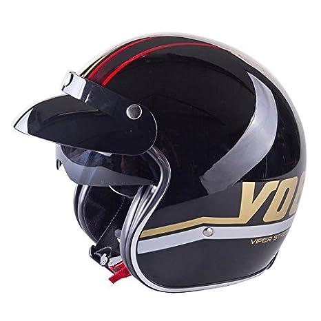 Viper RS-V06 Open Face Motorbike Helmet with Drop Down Sun Visor Scooter Motorcycle Helmet Matt Black M