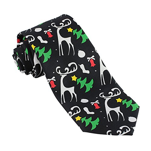 Mens Christmas Ties For Men Necktie Holiday Reindeer & Tree Tie (Christmas Tree Ties)