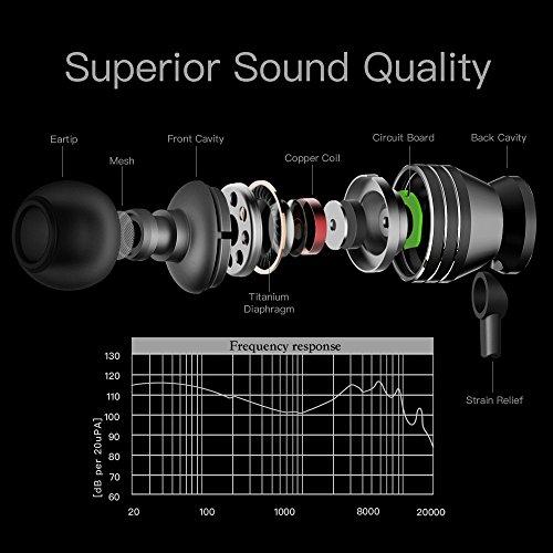 Earbuds, GGMM Headphones with Microphone Noise Isolating Headphones Earbuds Heavy Deep Bass Earphones Ear Buds, in Ear Headphones for iPhone Android Phone iPad Tablet Laptop (Black) by GGMM (Image #2)