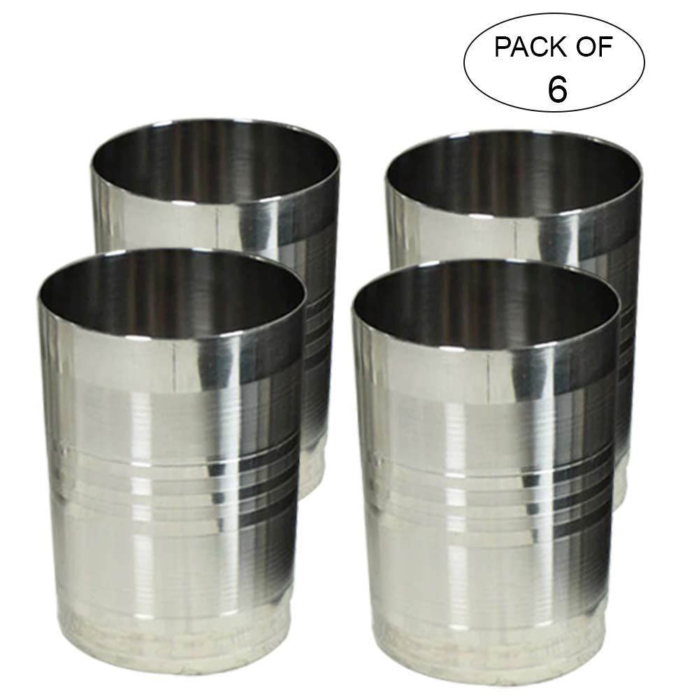 IndiaBigShop Pack Of 6 Premium Grade Stainless Steel Pint Cups Water Tumblers Unbreakable, Stackable, Brushed Metal Drinking Glasses, Chilling Beer Glasses, for Travel, Outdoor, Camping, Everyday