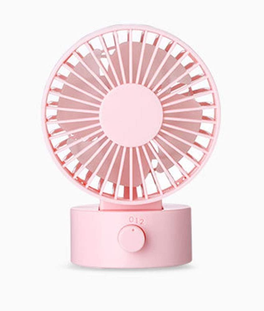 Color : Pink, Size : Free Size Mini Fan Mini USB Desk Fan with USB Rechargeable 3 Speeds Handheld Mini Fan USB Powered for Home and Oudoor