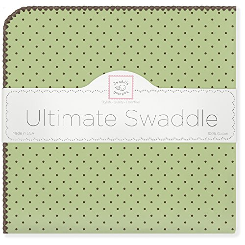 - SwaddleDesigns Ultimate Swaddle, X-Large Receiving Blanket, Made in USA Premium Cotton Flannel, Brown Polka Dots on Lime (Mom's Choice Award Winner)
