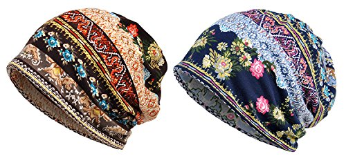 Qunson 2 Pack Women's Printed Baggy Slouchy Beanie Chemo Hat Cap by Qunson (Image #2)