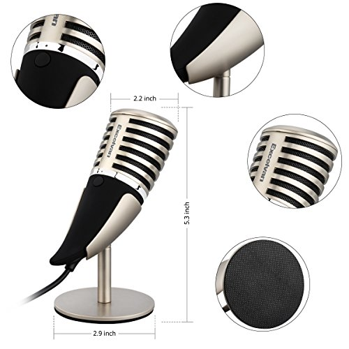 Excelvan SF-700 Condenser Microphone Professional 3.5mm Plug &Play PC Recording Mic with All Metal Stand Retro Unique Ox Horn Design for Broadcasting,Gaming, Music Recording by Excelvan (Image #4)