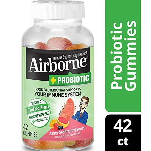 Airborne Plus Probiotic Assorted Fruit Gummies, 42 Count (Best Cold Sore Medicine 2019)