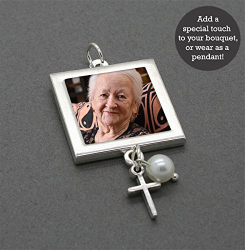 - Bridal Wedding Bouquet Photo Charm w/ Pearl Bead and Silver Cross