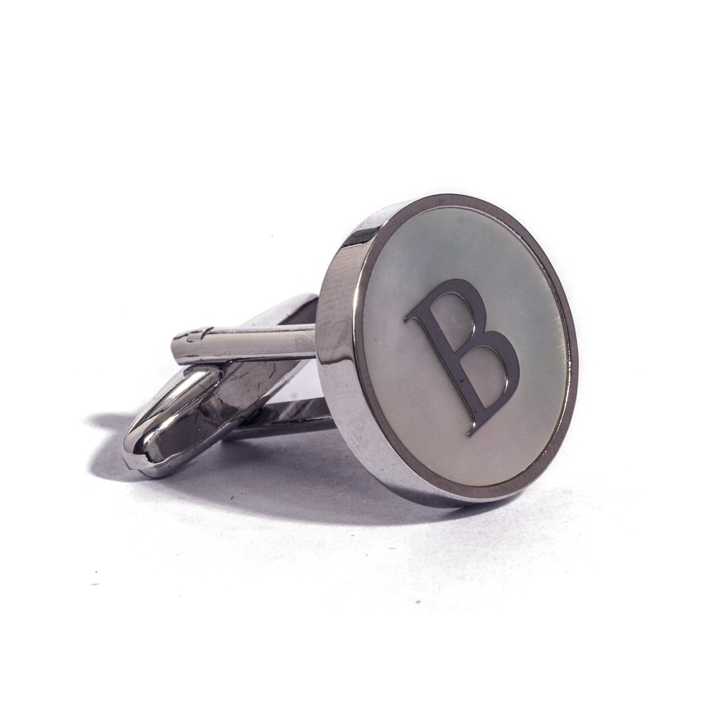 Digabi Initial Letter Cufflinks 18K White Gold Mother of Pearl B