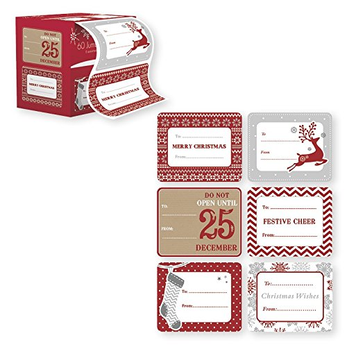 Self Stick Christmas Gift Tags - Jumbo Xmas Tag Stickers 60 Count Modern Red, White, Silver, and Gold Xmas Designs - Looks Great on Presents, Wrapping Paper and Gifting Bags
