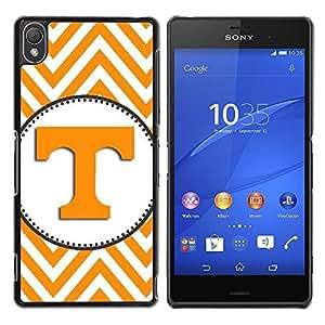 For Sony Xperia Z3 D6603 / D6633 / D6643 / D6653 / D6616 Case , Letter Initial Chevron Yellow White - Diseño Patrón Teléfono Caso Cubierta Case Bumper Duro Protección Case Cover Funda