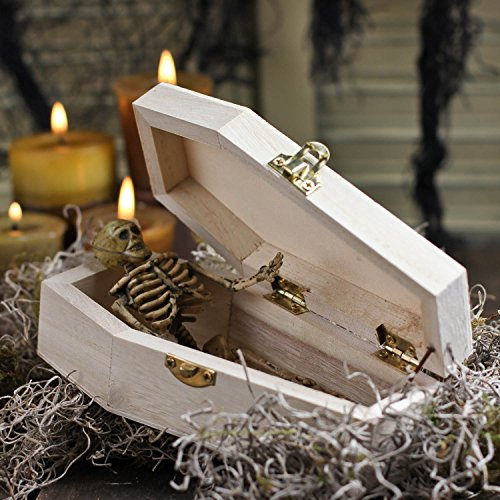 Small Decorative Unfinished Wood Coffins for Halloween Parties, and Decor (1)]()