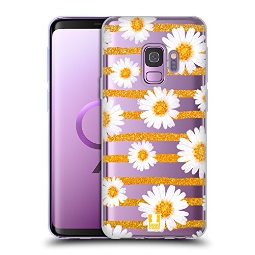 Case+Stand Ultra-Thin Polycarbonate Snap on Fits Samsung Galaxy S9 G9593 Hard Clear with White Daisy and Gold Stripes ()