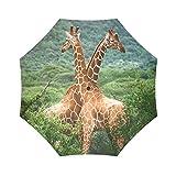 Couple Love Funny Giraffes Cute Design Folding Sun/Rain Umbrella, Folding Portable Outdoor Rain /Sun Umbrella Beach Travel Shade Sunscreen Anti-UV For Women/Men