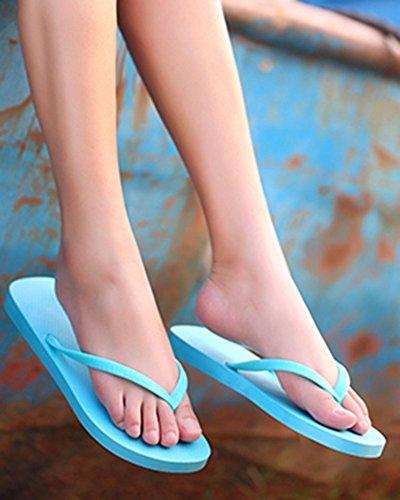 Aisun Womens Classique Bonbon Sucré Couleur Antidérapant Plage Plate Tongs Bleu