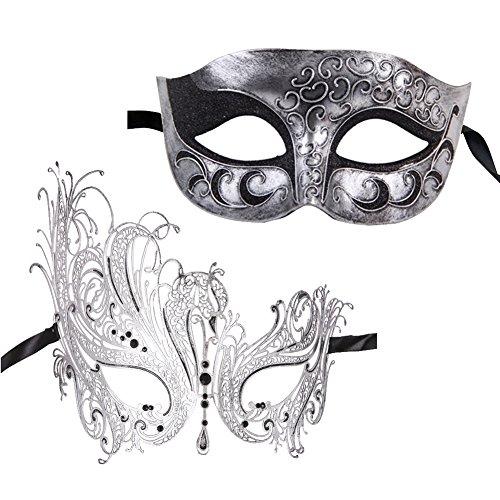 Xvevina Masquerade Mask for Couples Vintage Silver Venetian Mask (Modern Masquerade Ball Costumes)