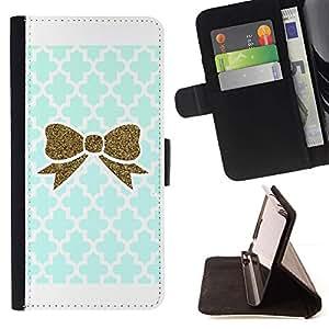 For Samsung Galaxy Note 3 III Case , Bowtie del brillo del oro del trullo Modelo blanco- la tarjeta de Crédito Slots PU Funda de cuero Monedero caso cubierta de piel