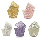 150 Pcs Cupcake Wrappers, Vine Lace Wraps Artistic Cupcake Paper for Wedding Party Birthday Decoration 5 Colors Mix (150)