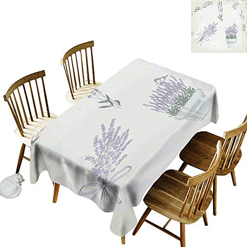 W Machine Sky Stain-Resistant Tablecloth Lavender Floral Vintage Composition with Rustic Elements Butterflies Bouquets W52 xL70 for Family Dinners,Parties,Everyday Use
