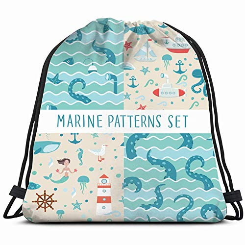 (s sets fishing animals wildlife mermaid nature Drawstring Backpack Gym Sack Lightweight Bag Water Resistant Gym Backpack for Women&Men for Sports,Travelling,Hiking,Camping,Shopping Yoga )