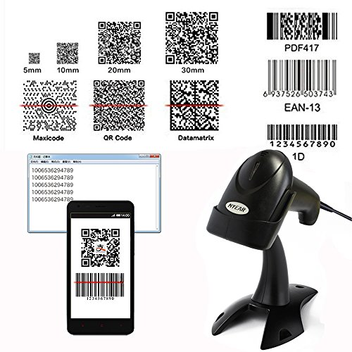 NYEAR Handheld Wired USB Barcode Scanner, 1D and 2D Handheld Inventory Bar Code Reader with Automatic Scan for Computer Windows with USB Cable with 1D and 2D(Bring Support) by NYEAR