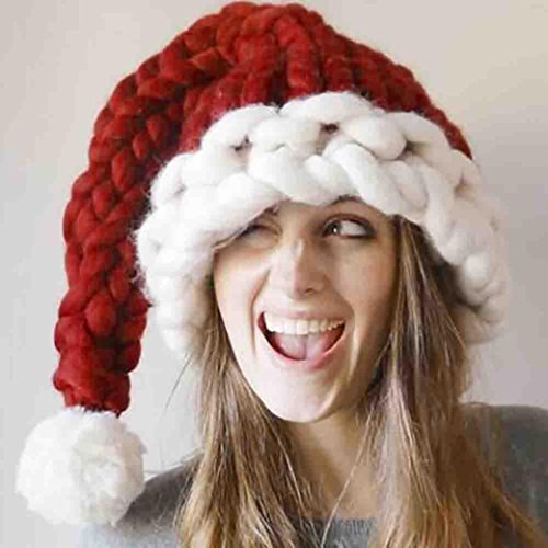 LLguz Parents Child Christmas Hand-Knit Thick Hat Winter Warm Long Tail Hat Christmas Hat (Adult ()