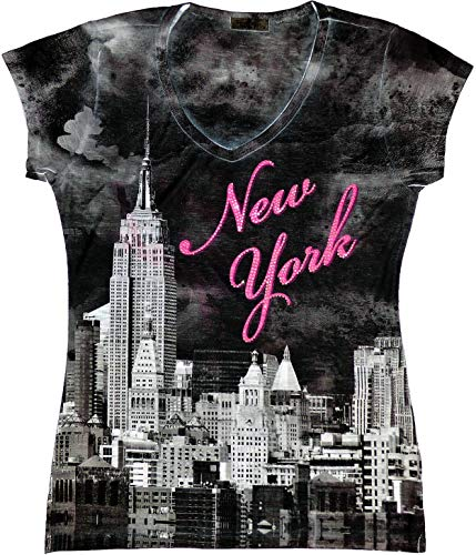 Sweet Gisele New York NYC T-Shirt | Colorful and Vivid Printing | Decorated with Rhinestones | (TBO-94, S)
