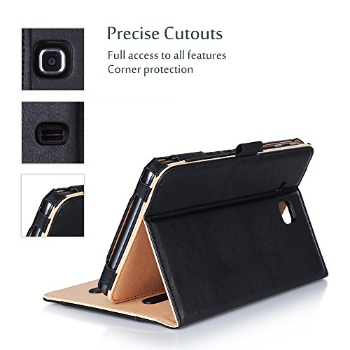 ProCase Galaxy Tab A 7.0 2016 Case T280 T285, Stand Folio Case Cover for Galaxy Tab A 7.0 SM-T280 SM-T285 Tablet, with Multiple Viewing Angles, Document Card Pocket (Black)