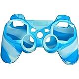 TQS™Alta calidad premium Super Grip Resplandor Azul Blanco de silicio cubierta protectora caso de la piel para Sony Playstation PS3 mando a distancia
