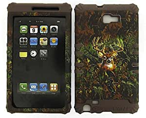 SHOCKPROOF HYBRID CELL PHONE COVER PROTECTOR FACEPLATE HARD CASE AND BROWN SKIN WITH STYLUS PEN. KOOL KASE ROCKER FOR SAMSUNG GALAXY NOTE 1 I717 HUNTER FOREST CAMO DEER MOSSY OAK CF-WFL025