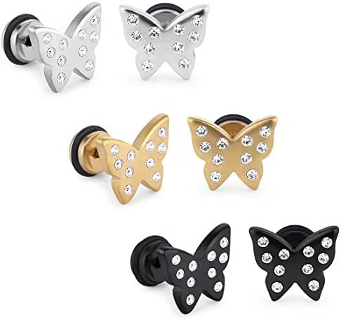 Cottvott Crystals Satinless Steel Screwback Butterfly Insect Earrings Studs Jewellry for Womens