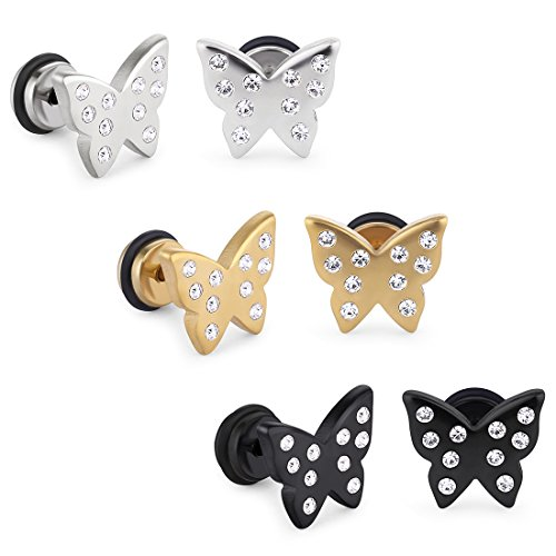 Earring Set Butterfly Stud (Cottvott Crystals Satinless Steel Screwback Butterfly Insect Earrings Studs Jewellry for Womens (3pairs (gold+black+ silver)))