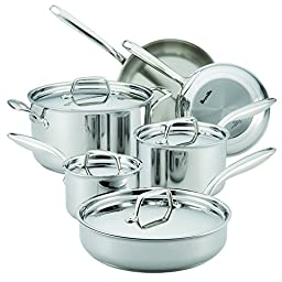 Breville 10 Piece Thermal Pro Clad Cookware Set, Large, Stainless Steel