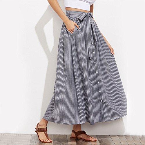 Button Jupe en Summer Fines Bow Gris Jupes Maxi Jupe Caches de Rayures Coton Femmes Casual Poche de Tie Une Tie Gray Ligne Self Up 6UCxIqn