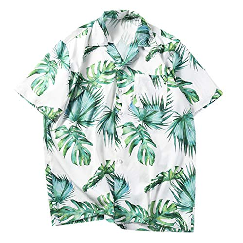 Men's Relaxed-Fit Tropical Hawaiian Shirt,Short Sleeve Party Casual Holiday Beach Button Down Shirt (XL, Green)