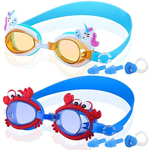 COOLOO Kids Swim Goggles, Pack of 2, Swimming Goggles for Children Boys Girls and Early Teens from 3 to 12 Years Old, Anti-Fog, Waterproof, Clear Vision, UV ()