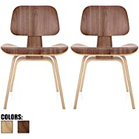 2xhome - Set of Two (2) - Walnut - Brown Wood - 18 Seat Height Plywood Dining Side Chair Plywood Lounge Chair for Dining Room Living Room Wood Chairs Accent Chairs