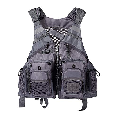 Lightbare Fly Fishing Vest for Men Women with Multiple Pockets for Photography Hunting ()