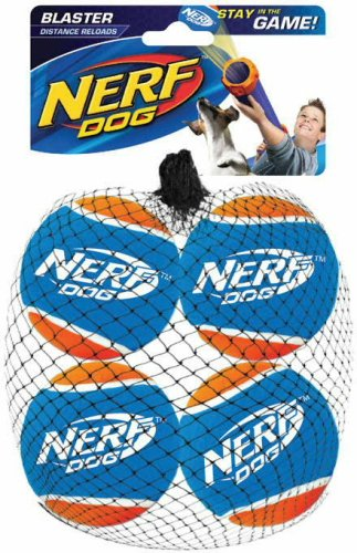 Nerf Dog Toy Distance Tennis Balls 4-pack Blaster Accessory