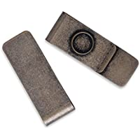 5pcs Stainless Steel money clip with 12mm round Bezel,Wallet Engravable,ANtique Bronze
