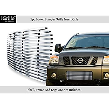 Compatible with 2008-2015 Nissan Armada Black Bumper Stainless Steel Billet Grille Insert N66508J