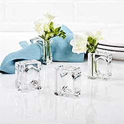 24 Acrylic Napkin Rings Bud Vase Flower Holder – Clear - Table Décor, 2-in 1 (Bulk Set)